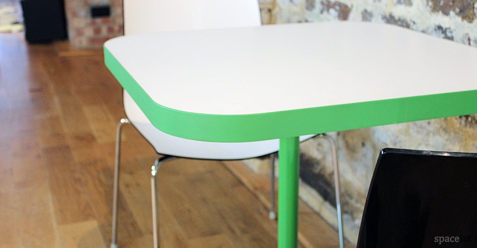 edge square green designer canteen table