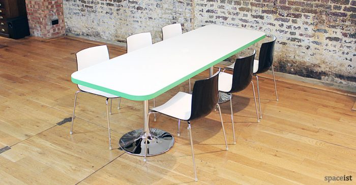 edge green rectangular cafeteria table and chairs