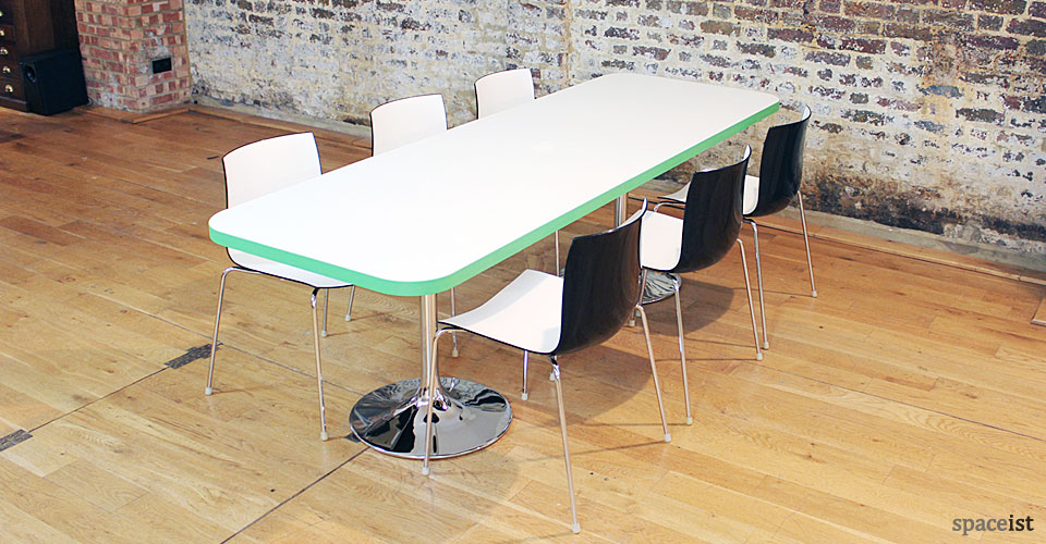 Cafe Tables Edge Long Table Chrome Trumpet Base