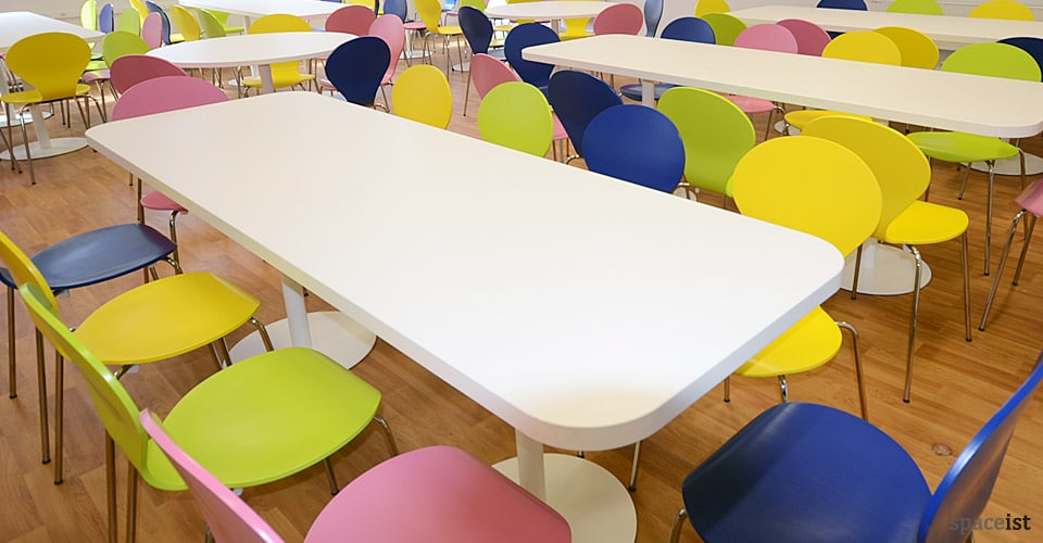 edge white rectangular canteen table