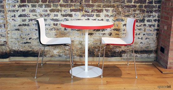 edge red and white round cafe tables 75cm dia