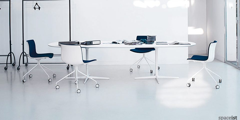 Eleo white oval meeting room table