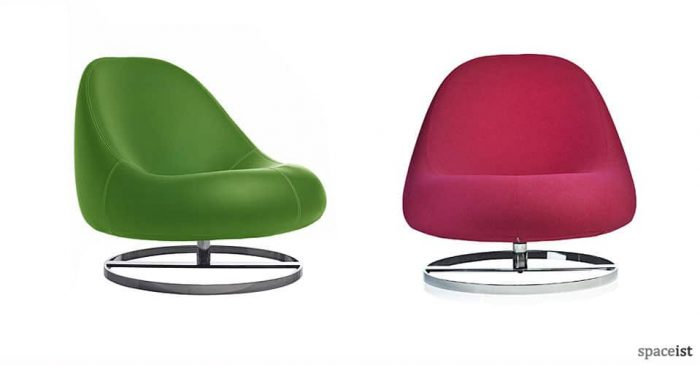flow grass green and pink spoon shaped reception chairs
