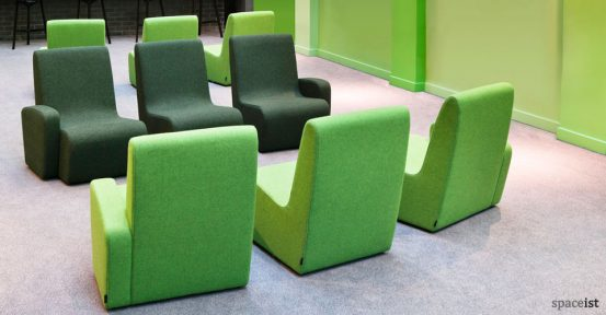 forty four green curvy reception chairs