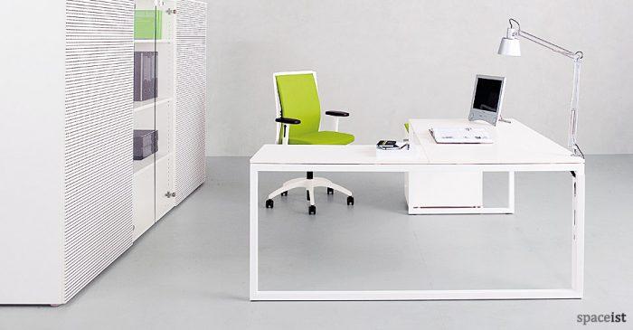 frame white corner desks