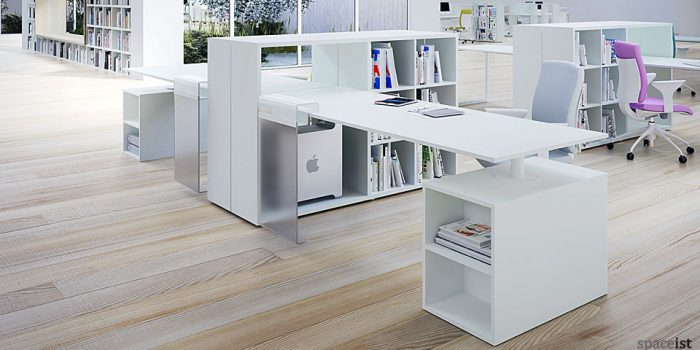 frame storage single white office desks