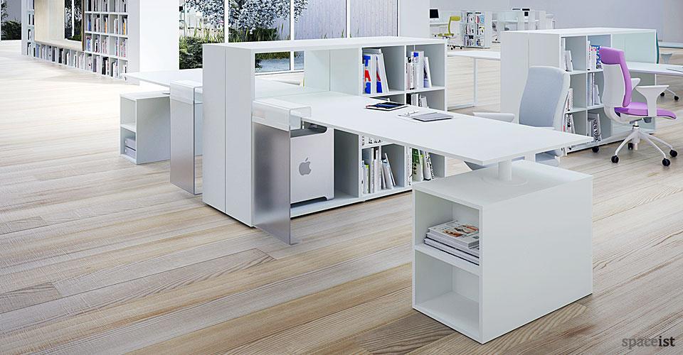 frame storage single white office desks