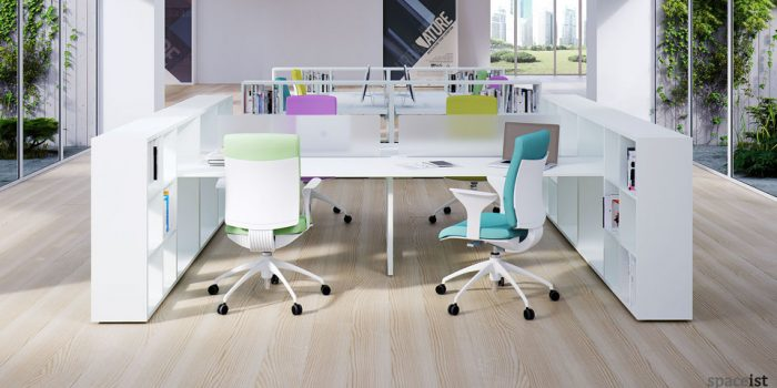 frame storage white office desks