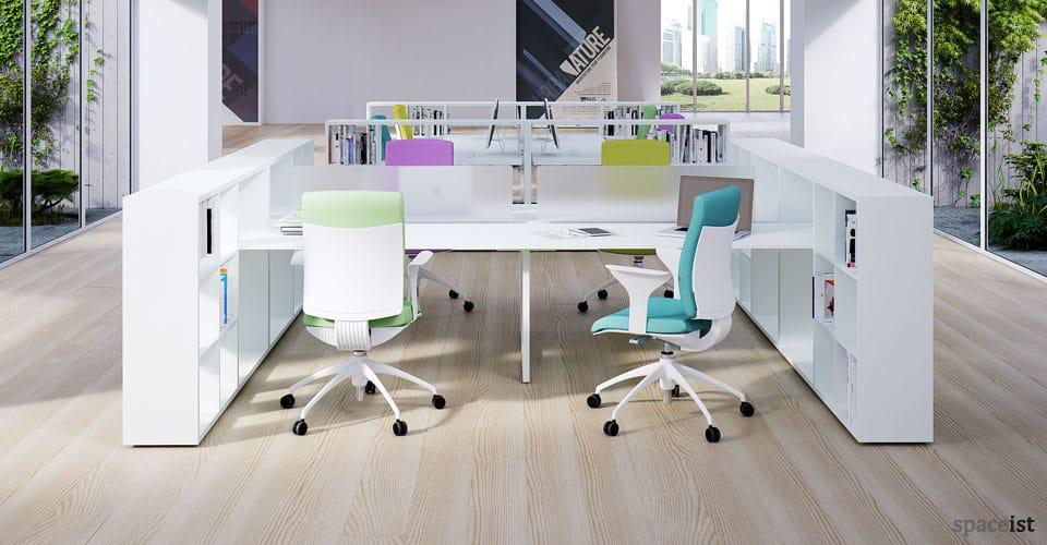 frame storage white office desks