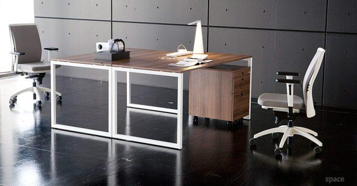 frame walnut office desk