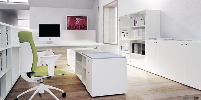 frame white low office cabinets