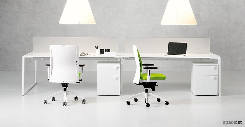 White office desks frame bench desk 4 person - Long office desk ...
