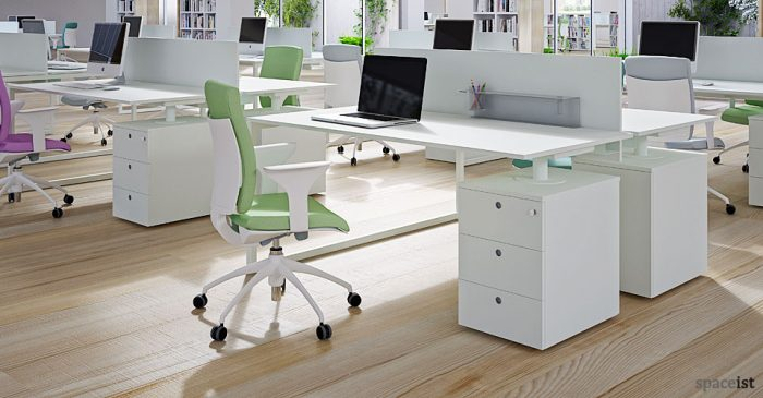 frame white supporting under desk storage