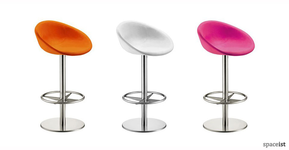 gliss pink and orange fabric bar stools
