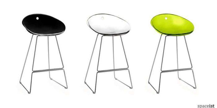 gliss lime black tranlucent designer bar stools