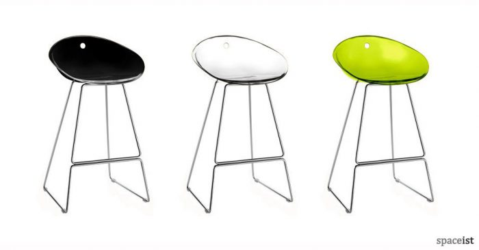 gliss lime black tranlucent designer bar stools