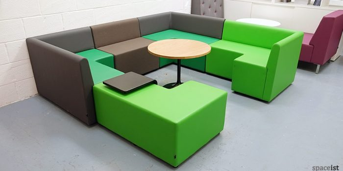 green modular cube booth seating