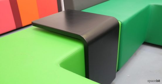 green modular cube black u shape table