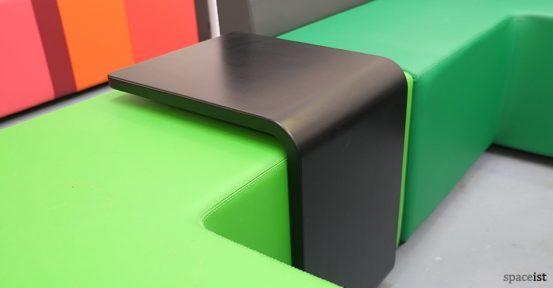 green modular cube black u shape table