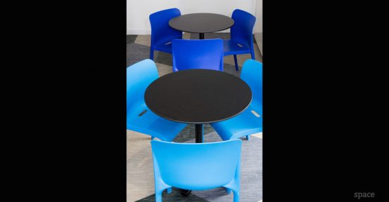 pop grey and blue cafe chair
