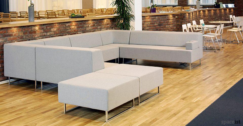 modular sofa in a grey fabric