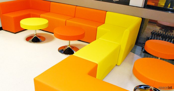 guildford college orange and yellow modular cubes