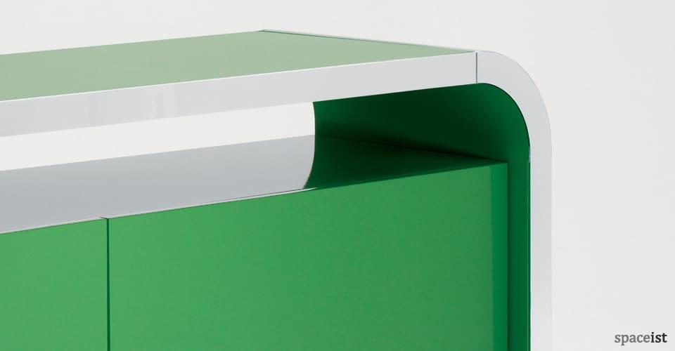 hi line green meeting cabinet closeup