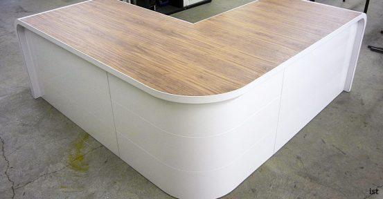 hi-line orange white corner reception desk