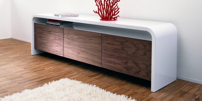 highline curved walnut cabinet