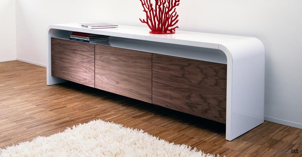 highline curved walnut cabinet