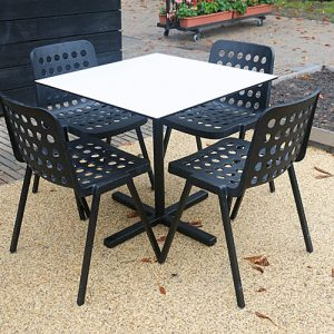 Bold square outdoor cafe table