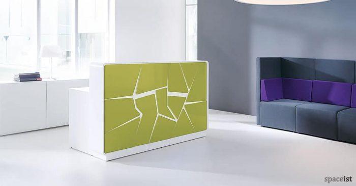 Ice green reception desk