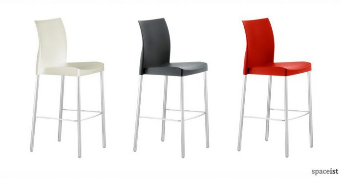 ice plastic red black and white bar stools