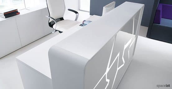 Ice white reception desk with cracked ice effect