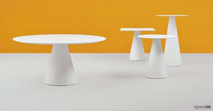 icon large round white canteen tables