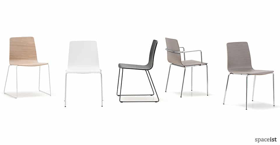 inga oak seat and white leg cafe chair