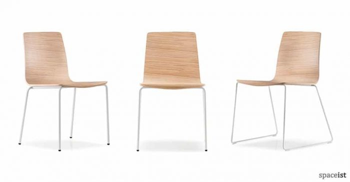 inga oak seat and white leg cafe chair
