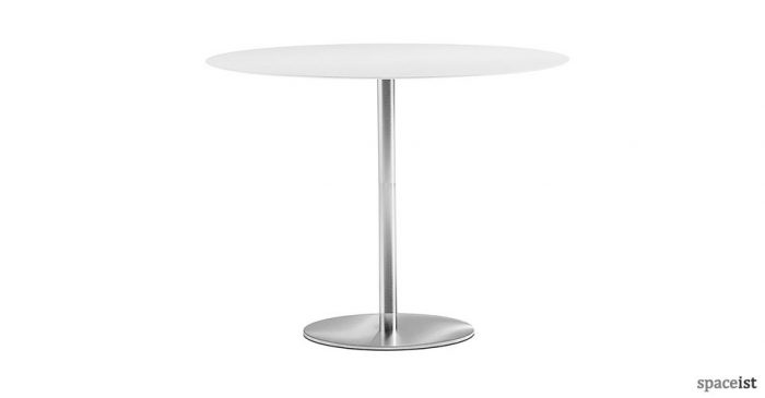 inox high round white and steel canteen table