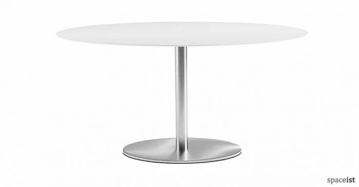 inox large round white and steel canteen table