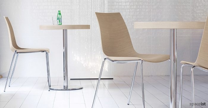 inox light oak cafe tables