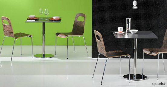inox light oak cafe tables
