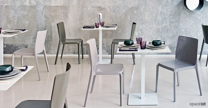 inox white square cafeteria tables