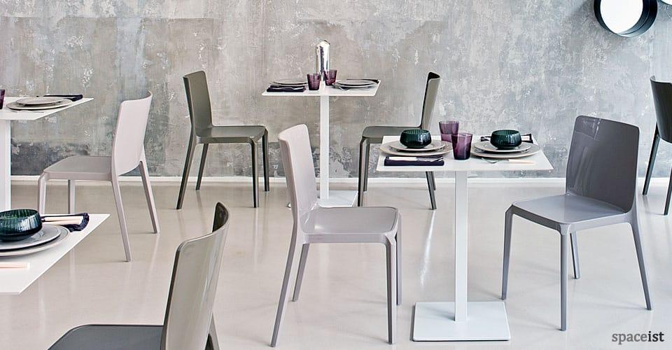 inox white square cafeteria tables