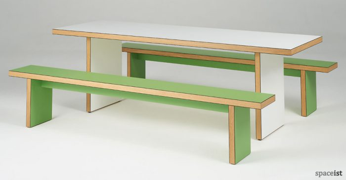green and white refectory table and benches