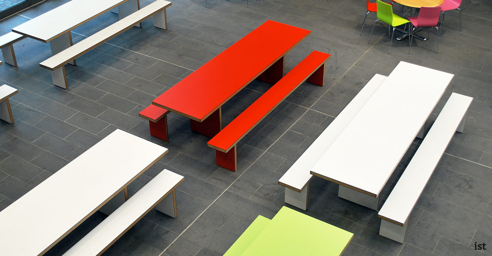 jb red and white school canteen benches