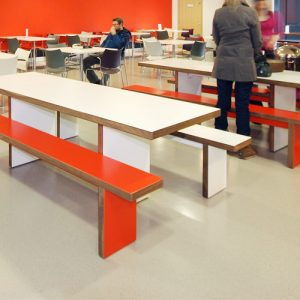 red school refectory table and benches