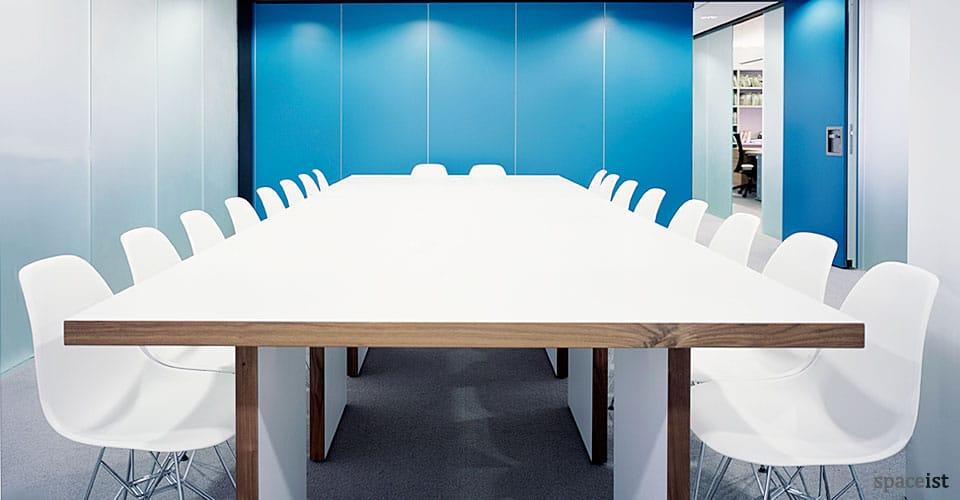 jb white walnut edge boardroom tables