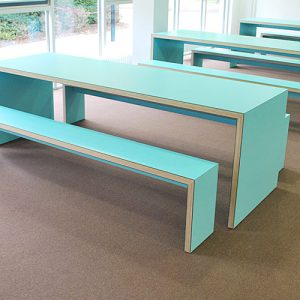 jb45 light blue laminate canteen table and benches