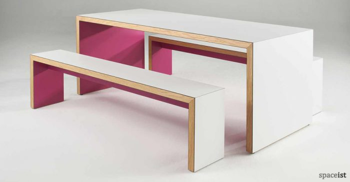 jb45 pink canteen table and benches