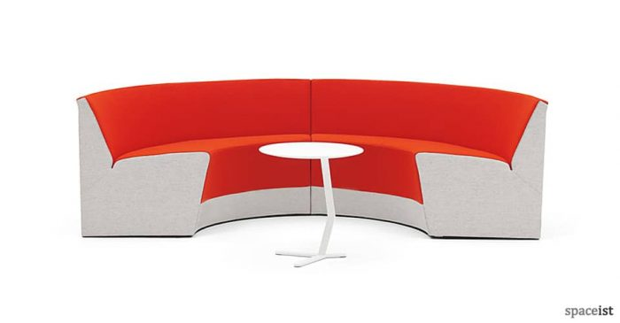 King circular reception sofa in red and grey fabric
